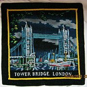 RETRO 70's &quot;Tower Bridge&quot; London Tourist  Souvenir Cushion Cover