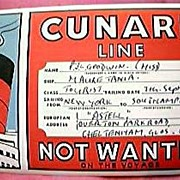 1956 Cunard MAURETANIA Baggage Sticker