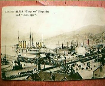 Vintage Shipping Postcard  H.M.S. Euryalus & Challenger 1909
