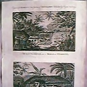 RARE Circa1790 Engravings James Cook Voyages Tahiti