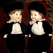 Horsman Circa 1920s Composition Boy&Girl Twins With Matching Velvet Outfits!