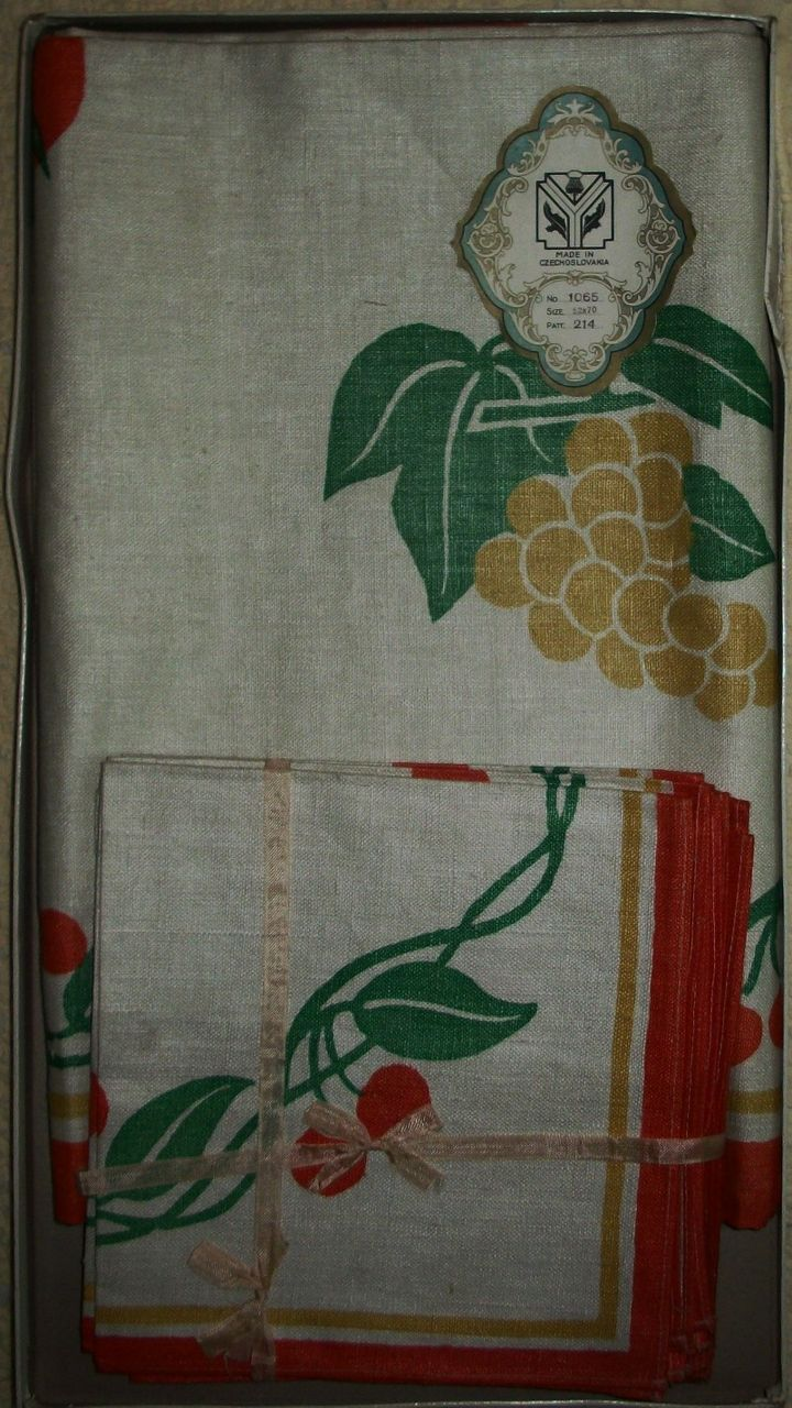 Vintage Never Used Czech Pure Linen Cherry~Grapes~Fruits -Arts & Crafts Era Tablecloth & Napkin Set