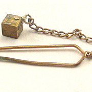 SOLD Antique Gold Metal Sewing Button Hook with Dangle