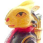 "1920s 4 1/4"" Easter Rabbit Dressed Celluloid Figure"
