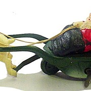 1920s Celluloid Santa w Reindeer Windup Tin Toy