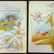 2 Embossed 1907 Easter Lily Postcards