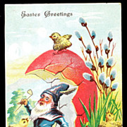 Happy Easter Elf with Chicks & Egg 1909 Postcard