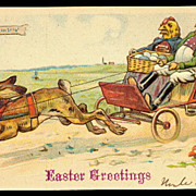 Easter Rabbit Carriage with Chicks 1908 Postcard