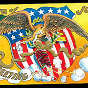 July 4th Greetings Eagle with Flag 1907 Postcard