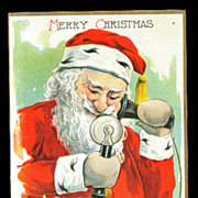 Santa Claus on Telephone 1908 Postcard