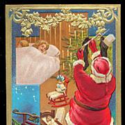 1909 Santa Claus with Children Sleeping Postcard