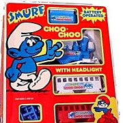 1981 Smurf Choo-Choo Battery Operated Train in Box