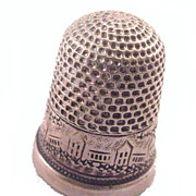 Early 1900s Sterling Houses/Bldg Design Thimble  #2