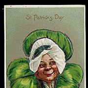 1907 Tucks St. Patrick�s Day Woman in Clover Postcard