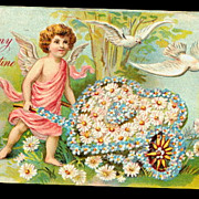 Cherub Pushing Flower Cart Valentine's Day Postcard