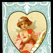 Cherub in Heart 1911 Valentine's Day Postcard