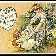 Lovely Schmucker Winsch Woman & Girl Valentine's Day Postcard