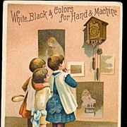 1885 J & P Coats Girl Children & Clock Trade Card