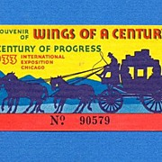 "1933 Chicago World's Fair ""Wings of Century"" Ticket"
