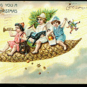 1906 Germany Children Riding Xmas Pinecone Postcard