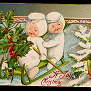A Joy of Christmas Snow Babies Sledding 1911 Postcard