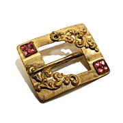 SALE 1890's Victorian Gold Wash Buckle Design Brooch Pink Paste
