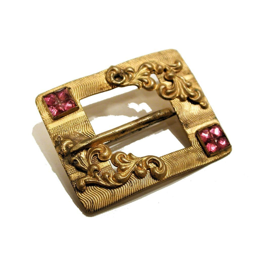 1890's Victorian Gold Wash Buckle Design Brooch Pink Paste