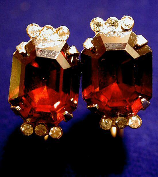 Coro 40's Red Emerald-Cut Glass Rhinestone Earrings Downton Abbey