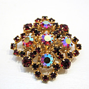 AUSTRIA Beautiful Red Pink AB Rhinestone 50's Brooch
