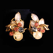 REDUCED 1950's Fruit Salad Opalescent Rhinestone Earrings