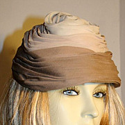 50s Vintage Taupe Silk Toque Hat Lord & Taylor Amrose