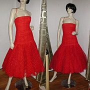 REDUCED 80s Fernando Pena Red Tulle Party Dress NOS S