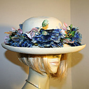 Beautiful 40s Wide Brim Straw Hat with Blue Flowers