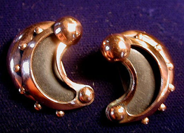 Renoir Copper Black Crescent Earrings Mid Century Modern