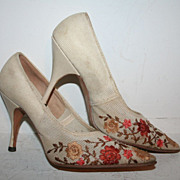 SALE 50's Tan Floral Embroidered Stilettos High Heels 5 6