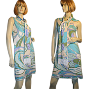 REDUCED Mr Dino 60's Psychedelic Wave Print Jersey Dress M