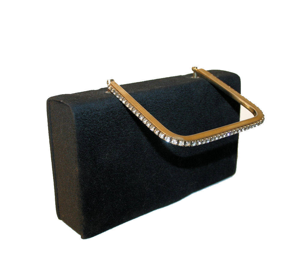 Handsome 1940s Black Box Purse with Large Mirror and Rhinestone Handle
