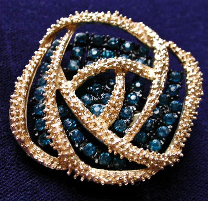 50s Blue Mid Century Rhinestone Abstract Brooch