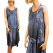 Exquisite 20's Peacock Blue Silk Beaded Flapper Dress M Display Piece