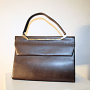 70's Brown Leather Jordan Marsh Kelly Bag Made in France