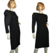 Bill Blass 80's Black Crepe Cocktail Dress Satin Sleeves M