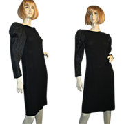 SALE Bill Blass 80's Black Crepe Cocktail Dress Satin Sleeves M