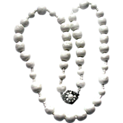 SALE Vintage Miriam HASKELL White Glass Bead Necklace