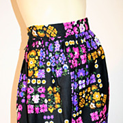 60's Vintage Purple Black Floral Maxi Skirt S