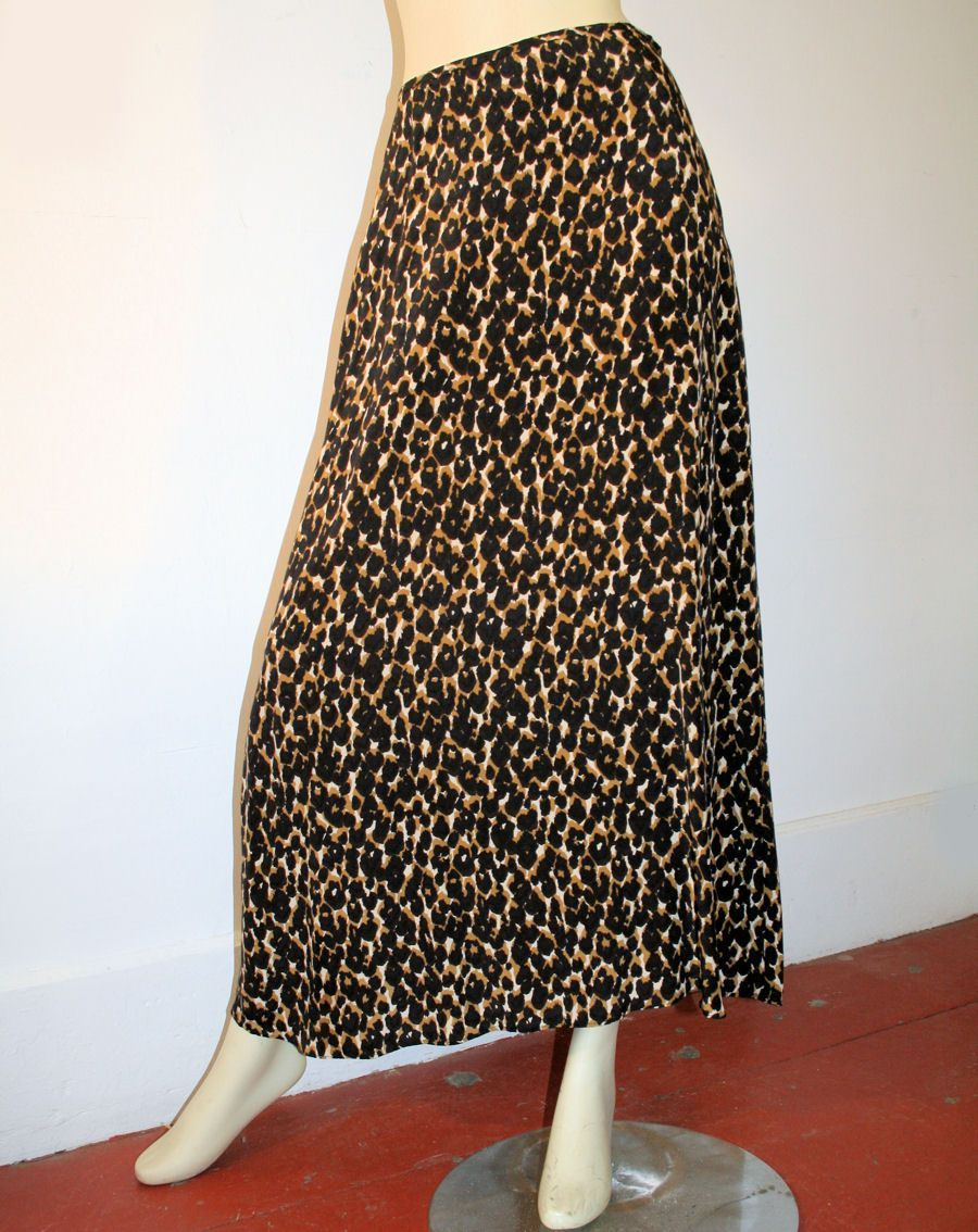HALSTON Designer Vintage Silk Leopard Print Skirt S