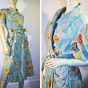 40's Aqua Orange Floral Seersucker Wrap House Dress S
