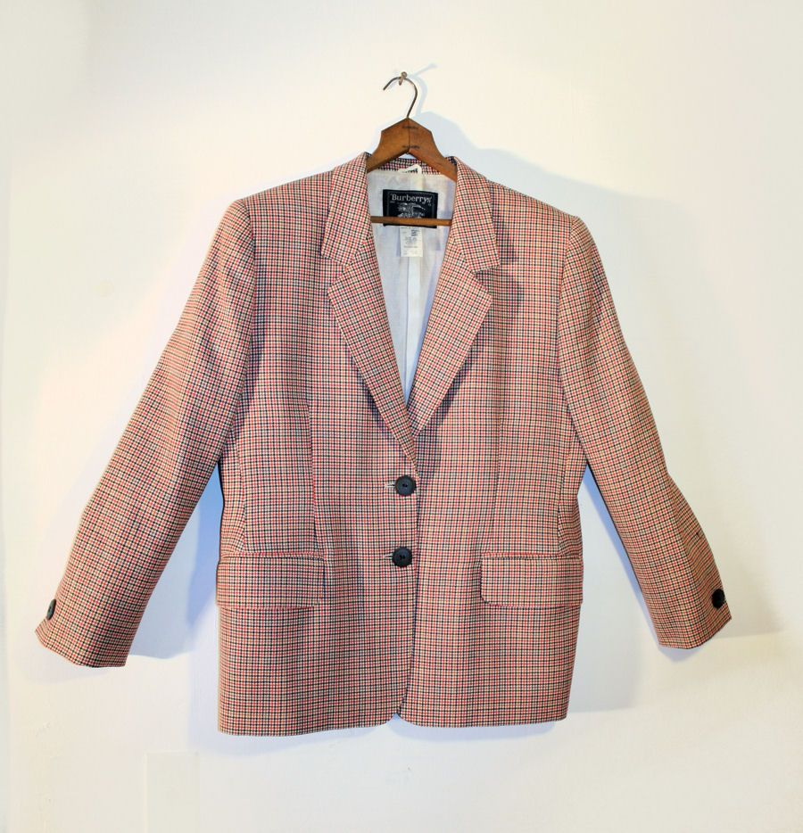 80's Burberry's Red Black Hounds Tooth Men's Jacket M