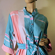 70's Catherine Ogust Designer Geometric Cotton Tunic Dress M/L