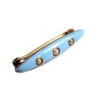 Victorian 10K Blue Enamel Bar Pin with 3 Seed Pearls