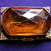 Edwardian Citrine Glass Filigree Brooch